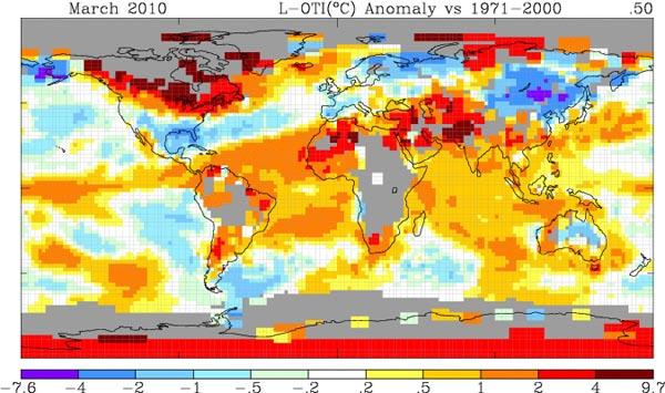 temp maart 2010 nasa