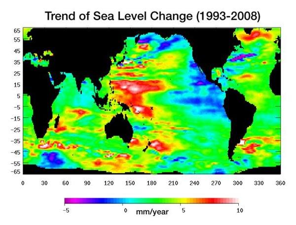 trend sea level change 1993 2008